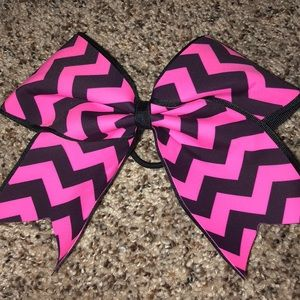 Pink and black chevron cheer bow